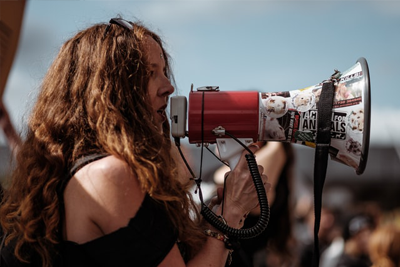 Image of girl campaigning with megaphone