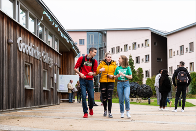 Image of students outside Goodricke College, University of York